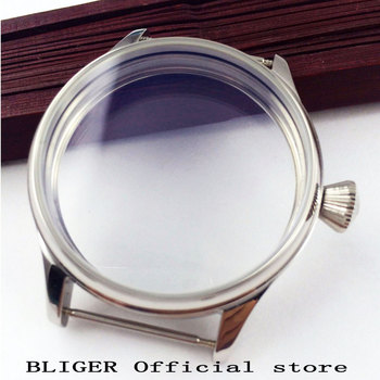 44MM BLIGER Sterile Stainless Steel Transparent Watch Case Fit For ETA 6497 6498 Hand Winding Movement Watch Cover