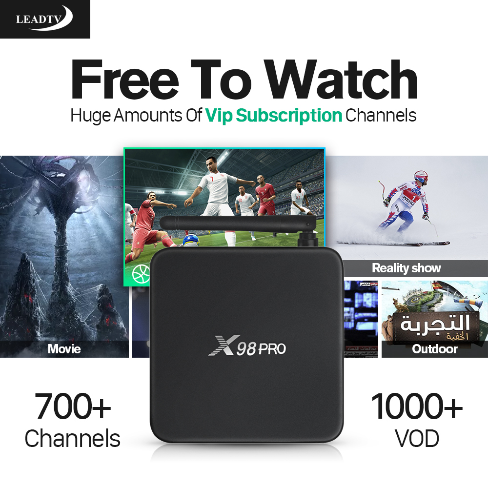 X98 PRO Smart android 6.0 tv box 2g+16G Media Player with 700+1 Year HD IPTV Arabic Europe Channel Subscription IPTV Account APK