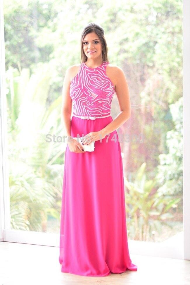 Vestido de festa Personalizar Perlas Fucsia Largo Vestidos de Noche ...