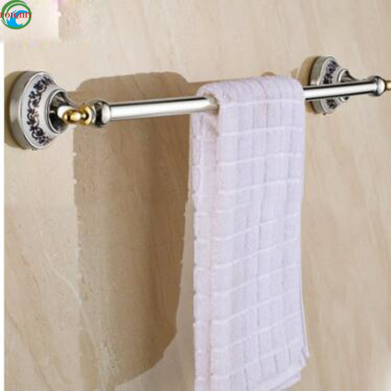 European Style Chrome wall mounted Solid Brass Towel Rail with ceramics Single Towel Bar Bathroom Towel Holder the ivory white european super suction wall mounted gate unique smoke door
