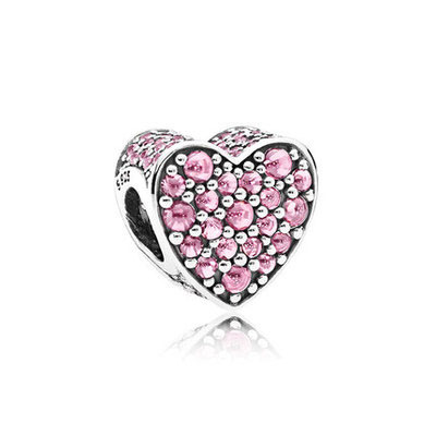 8957a7c30 Heart Beads 925 Sterling Silver Fit Pandora Original Charm Bracelet Silver  925 Pink Zircon Fashion Jewelry Valentine's Day Gift