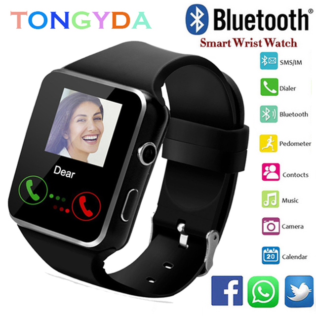 d797618a61e8 Hombres reloj inteligente Bluetooth x6 con pantalla táctil Batería grande  apoyo TF tarjeta Sim Cámara Smartwatch para Android Teléfono PK a1 Y1 Q18