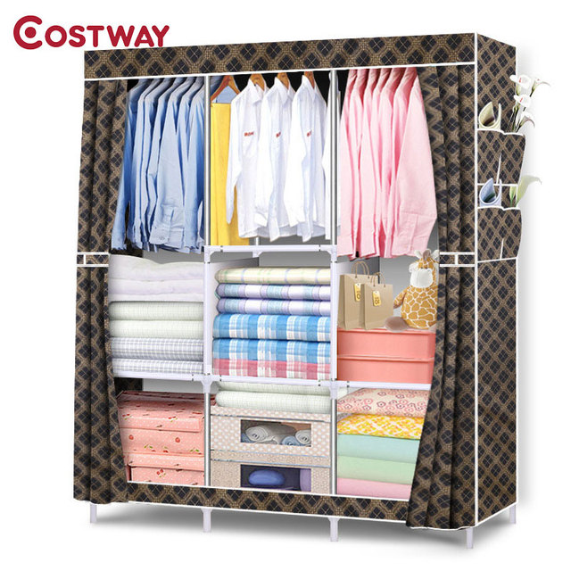 COSTWAY Bedroom Folding Non Woven Wardrobes Cloth Storage Saving Space  Locker Closet Sundries Dustproof Storage