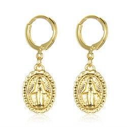 ROMAD 3 Renk Mary Uzun Küpe Meryem Hoop Küpe Kadınlar için Oval Disk Küpe Gül Altın Renk Dini Takı r4
