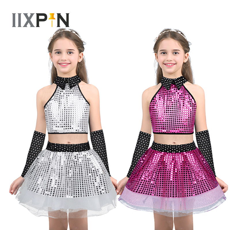 Children Sequins Jazz Dance Latin Waltz Modern Costume Outfit Sparkly Dancing Dress Stage Show Dresses Jazz Costumes For Girls