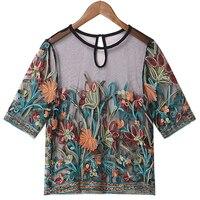 Для женщин летняя рубашка пикантные Топы полупрозрачные с цветочной вышивкой прозрачный Винтаж See Through Тонкий туника блузка плюс размеры