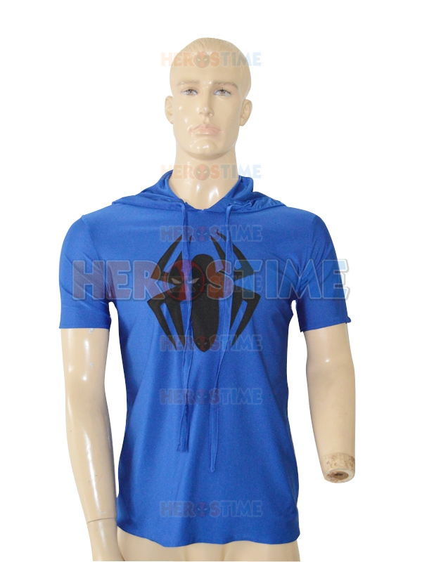 Free Shipping Scarlet Spider Spider-man Royal Blue Hooded T-shirt Cosplay Halloween Costume