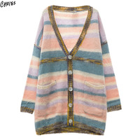 Polychrome Stripe Mohair Cardigan Women Buttons Up Pockets Front Drop Shoulder Oversized Longline Knitted Sweater
