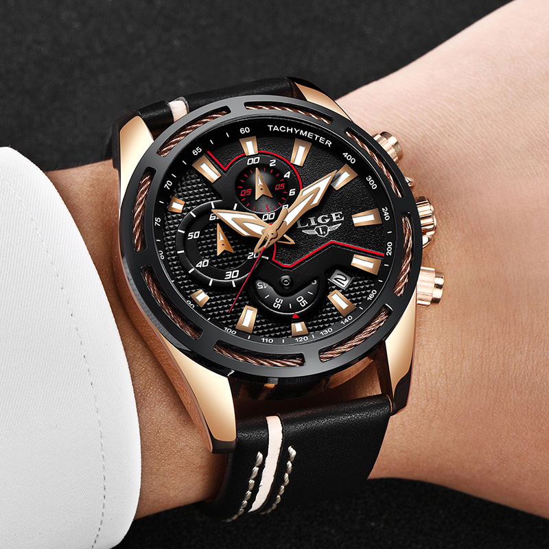 Relojes Hombre 2018 New LIGE Fashion Mens Watches Top Brand Luxury Leather Quartz Watch Men Sports Waterproof Dress Wrist watch picture proof