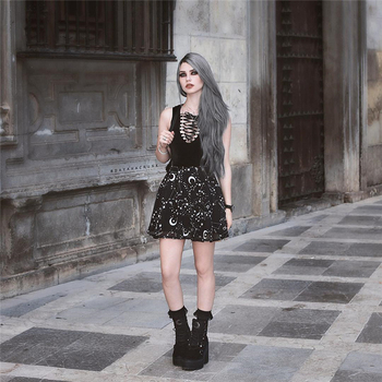 InstaHot Star Printed Pleated Gothic Skirts Women High Waist Punk Black Mini Skirts Constellation Rock Moon Sexy Club Outfits 5