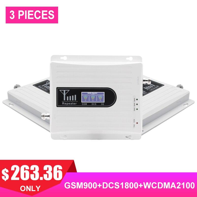2G 3G 4G Tri bande cellulaire répéteur de Signal GSM 900 DCS WCDMA 1800 2100 amplificateur de téléphone portable amplificateur GSM 3G 4G 3 pièces #