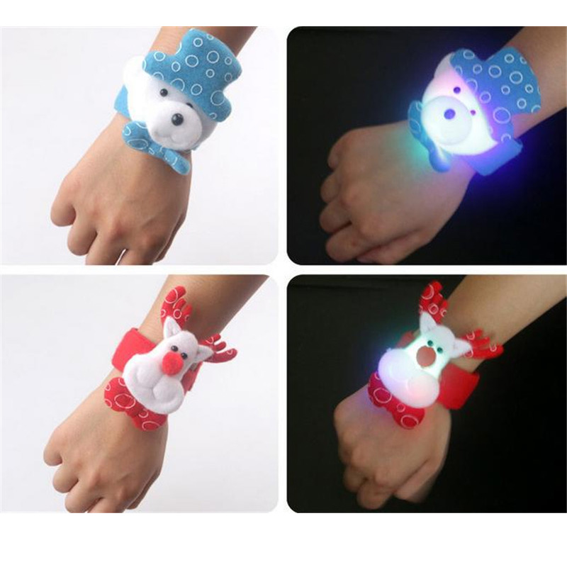 Led Flashing Bracelet Kid toy lovely Santa Claus Reindeer Snowman Dog Bear Christmas Hand ring toys Slap Wistband 12units/lot