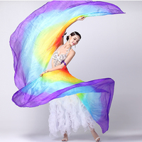 100 Silk Stage Performance Props 1 Pair Half Moon Silk Veil Dance Colorful With Wooden Sticks