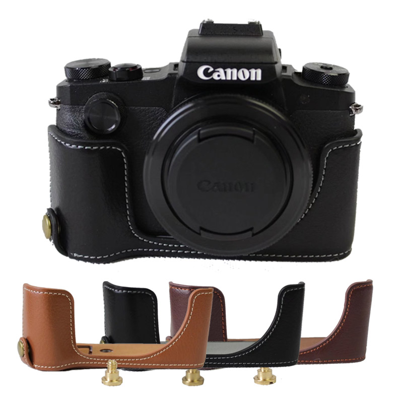 Genuine Leather <font><b>Case</b></font> Half Body Camera <font><b>Case</b></font> For <font><b>Canon</b></font> G1XIII <font><b>G1X</b></font> III <font><b>G1X</b></font> Mark3 Bottom <font><b>Case</b></font> Cover with Battery Opening image
