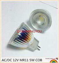 Nova chegada mr11 110 v 220 v cob led spotlight corpo de vidro gu4 lâmpada luz ac/dc 12 v mr11 5 w lâmpada led branco quente/branco