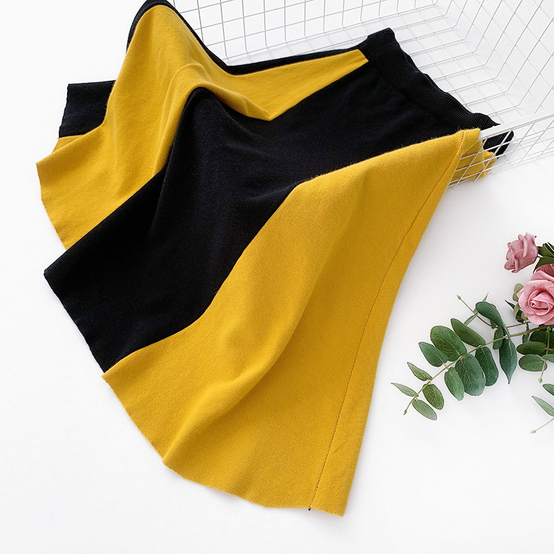 Wasteheart Autumn Winter Yellow Red Women Skirt Casual High Waist A Line Mid Calf Long Skirt Clothing All match Knitting Skirts in Skirts from Women 39 s Clothing