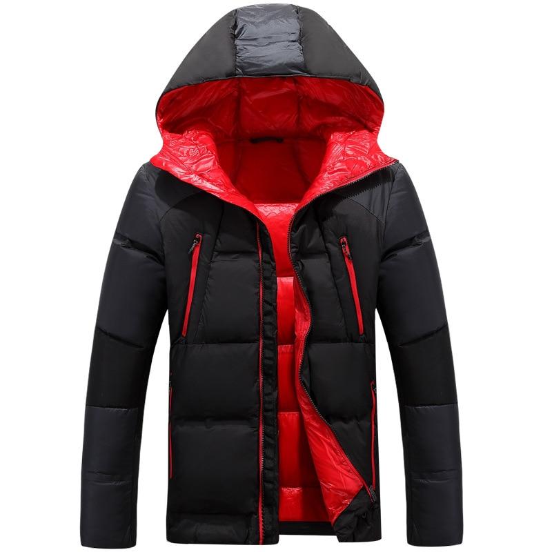 Nouveau hiver vers le bas à capuche ski rouge veste hommes multiples poches épaissir blanc canard vers le bas vestes vers le bas neige pardessus mâle vêtements
