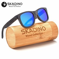 Polarized Wood Sunglasses Bamboo Fashion UV400 Sun Glasses for Women Men Gray Blue Lens Cool Handmade SKADINO Brand