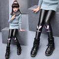 Girls winter plus velvet leggings 2016 new baby girls' clothing fashion big virgin PU leather pants 6/7/8/9/10/11/12 years