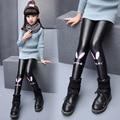 Girls winter plus velvet leggings 2016 new baby girls' clothing fashion big virgin PU leather pants 6/7/8/9/10/11/12 years