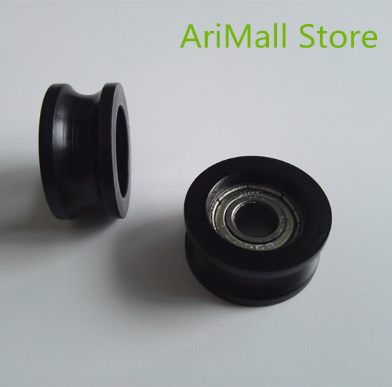 5pcs 6*21*10mm U Type Groove Pulley Wheel Nylon Plastic Pulley Bearing Wrapped Rubber Wheel