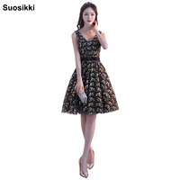 2017 Suosikki V Neck Tulle Cocktail Dress Summer Sexy Formal Prom Dresses Evening Party Dress Gown