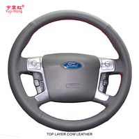 Steering Wheel Leatehr Cover Case For Ford MONDEO CHIA X Ford S MAX Genuine Leather DIY