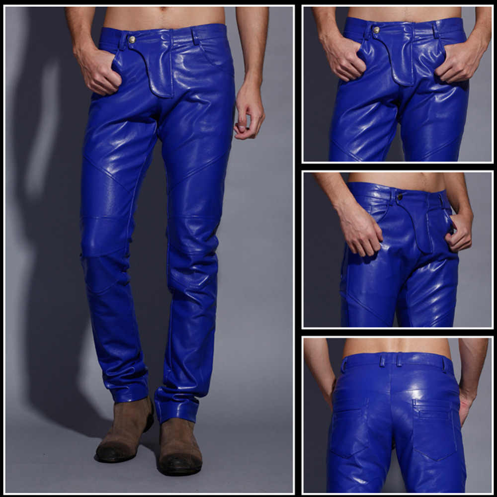 cdabff78 ... Idopy Men`s Motorcycle Faux Leather Pants Multi Colors Red Blue Black  White Biker Style ...