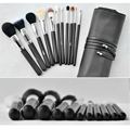 11pcs Professional Makeup Brushes Set Goat&Synthetic Hair Cosmetic Kit With PU Leather Case For Fashion Beauty MSQ Brand