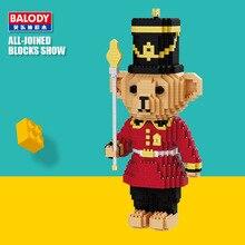Balody 16059 Cartoon Royal Red Bear Soldier Model DIY Micro Diamond Mini Building Blocks Bricks 3D Assembly Kids Toy Gift