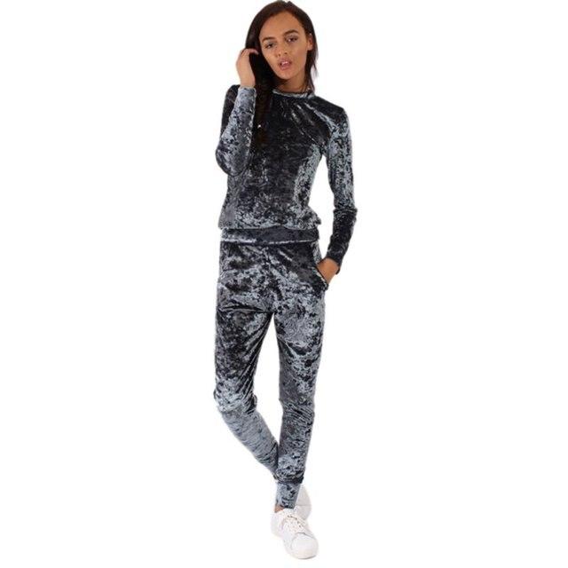 Fashion Women Lounge Wear Sets Tracksuit Ladies Crushed Velvet Lounge Suit Sweatshirt Pant