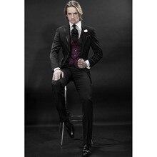 Custom Made Mens Suits Groomsmen Notch Lapel Groom Tuxedos Black Wedding Best Man Suit (Jacket+Pants+Tie+Vest+Hankerchief) A10