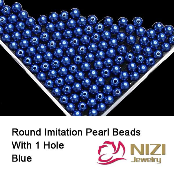 Imitation Pearl beads 6mm 8mm 10mm Blue Color Resin Round Pearl Beads With Hole 100g/bag For Jewelry Making And DIY Decoration