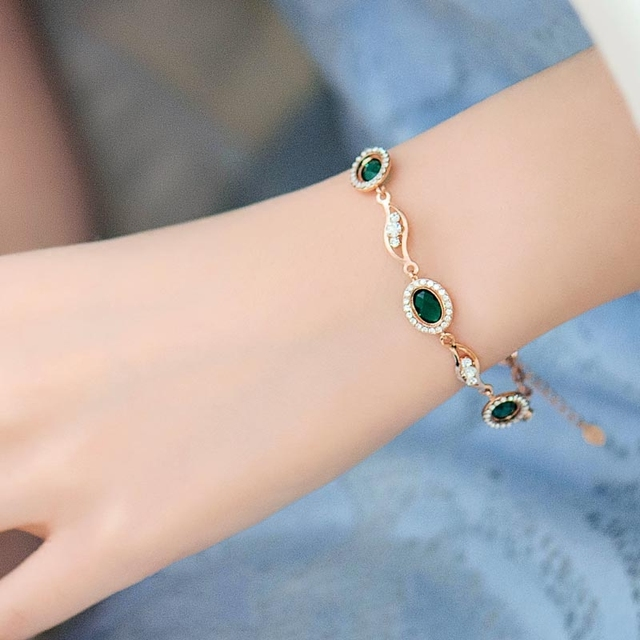 Womens Wedding Crystal Bracelet Female Fashion Jewelry Korean Birthday Gift Girl Girlfriend Green Mirro