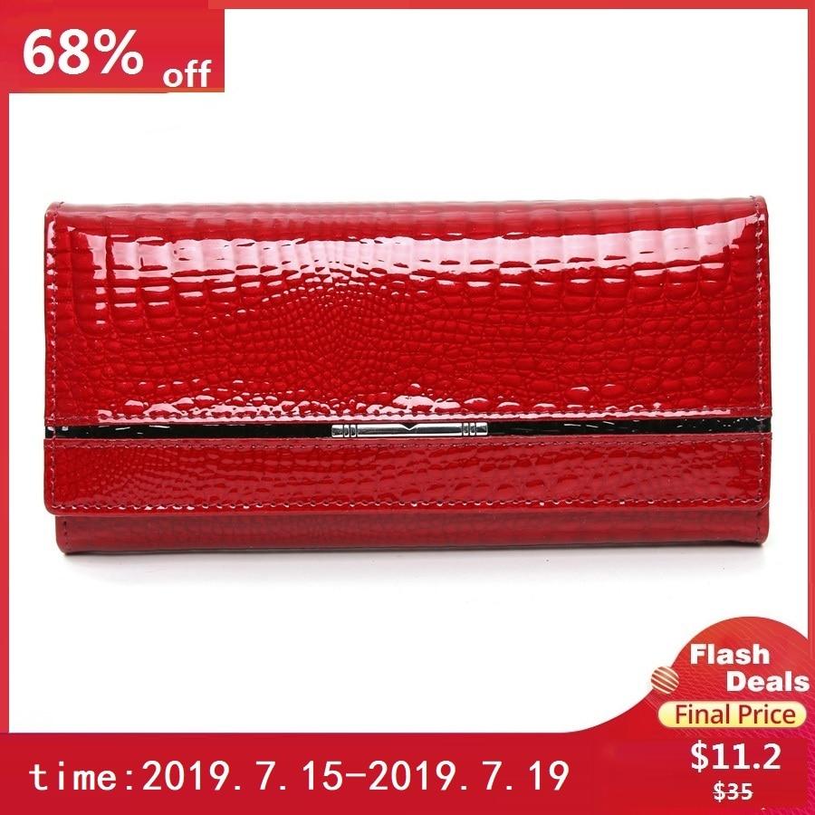 genuine leather women wallets alligator ladies leather wallet luxury brand women purse long female clutch purses