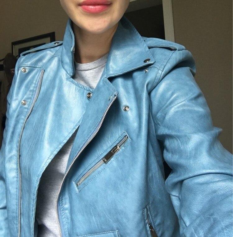 Schlussverkauf 2019 Frauen Kurze Mantel Faux Leder Jacken Soft Hohe Qualität Weibliche Casual Kleidung Rosa Blau Schwarz V Niet Sml Drop Schiff Gürtel Haus & Garten