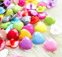 suoja 50PCS 14mm Mix Color Shank Heart Plastic Buttons DIY Crafts Children's Clothing Garment Sewing Accessories