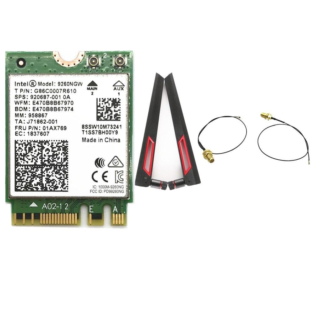 ¡Juego de la antena de ASUS AC88U 8dbi M.2U! fl RP-SMA Cables + Intel 9260 9260NGW 802.11ac 1730 Mbps WiFi Bluetooth tarjeta 5,0