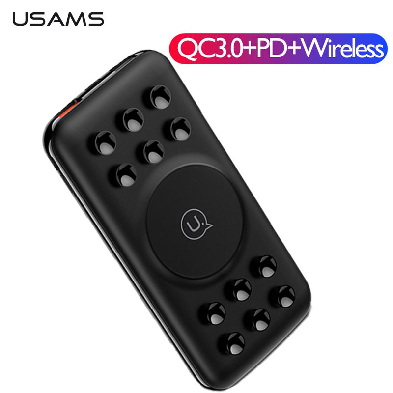 USAMS Powerbank QC3.0 PD Wireless Charger 10000mAh Suction Cup Adsorption Power Bank Fast Charging For IPhone Xiaomi Mi Huawei