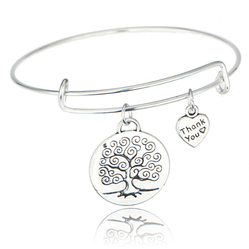Hot Life Of Tree Round Broken Heart Double Pendant Bangle Bracelet Mother Daughter Hollow Family Women Lovers Friendship Jewelry