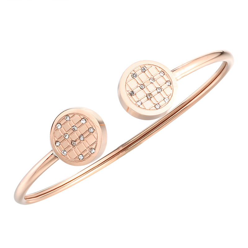 Stainless Steel CZ Rose Gold Color Cuff Charming Bangles Bracelets for Woman Wedding Party Wristband Luxury Brand Jewellery Gift