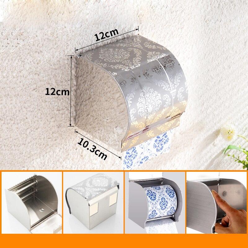 Porta Papel Higiénico À Prova D' Água Do Banheiro Do Aço inoxidável Higiênico WC Titular Tecido suporte de Papel Higiênico Caixa de Papel Higiênico
