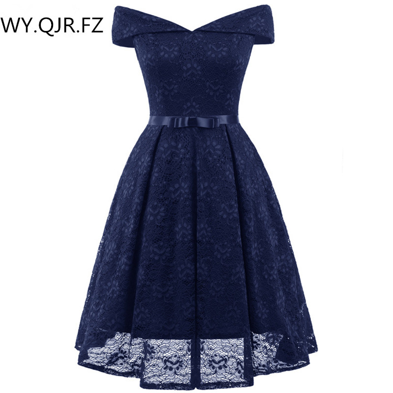 PTH-CD1603#Dark Blu Boat Neck Bow Lace Sexy Ping Short Bridesmaid Dresses Bride Toast Wedding Party Dress Gown Prom Wholesale