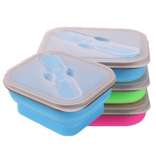Single Foldable Silicone Storage Box Microwave Lunch Outdoor heated collapsible food container bento