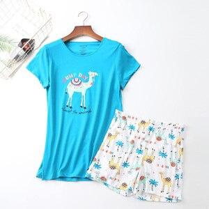 Image 4 - 2019 Summer Women Pajamas Set Cartoon Animal Short Sleeve+Shorts 2Pcs Sleepwear Korean Style Comfort Soft Round Neck Homewear
