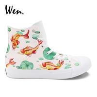 Wen Original Design Cyprinoid Fancy Carp Koi Fish Hand Painted Shoes Women Men's Canvas Sneakers High Top Plimsolls Laced Flat