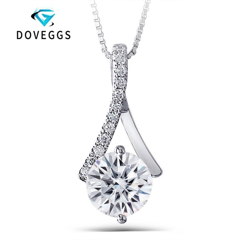 DovEggs 14 k 585 Blanc Or 1.64ctw 7.5mm Brillant Rond GH Couleur Moissanite Diamant Pendentif Avec Accent Colliers Pour femmes