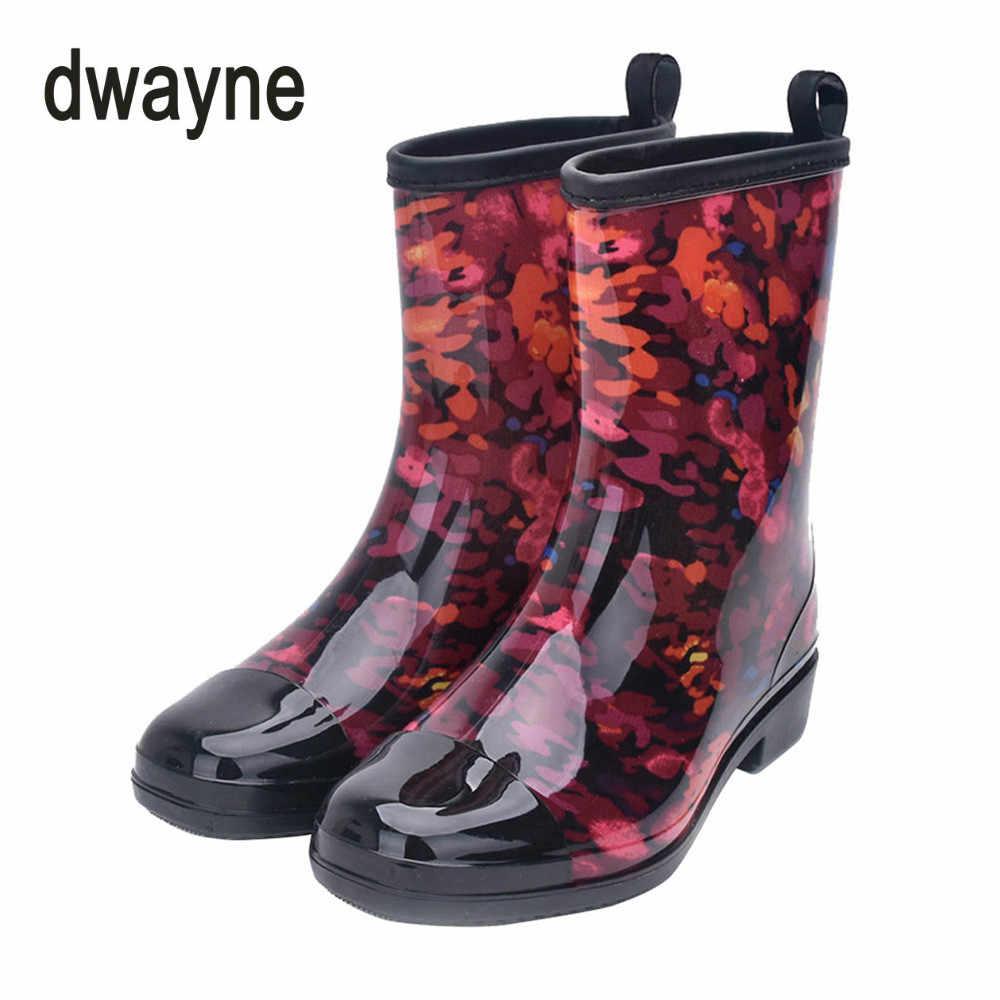 8c1e5b88919 2018 Rain Boots Women Waterproof Shoes Ankle Rubber Boots High Heel Rain  Boots Plus Size 36