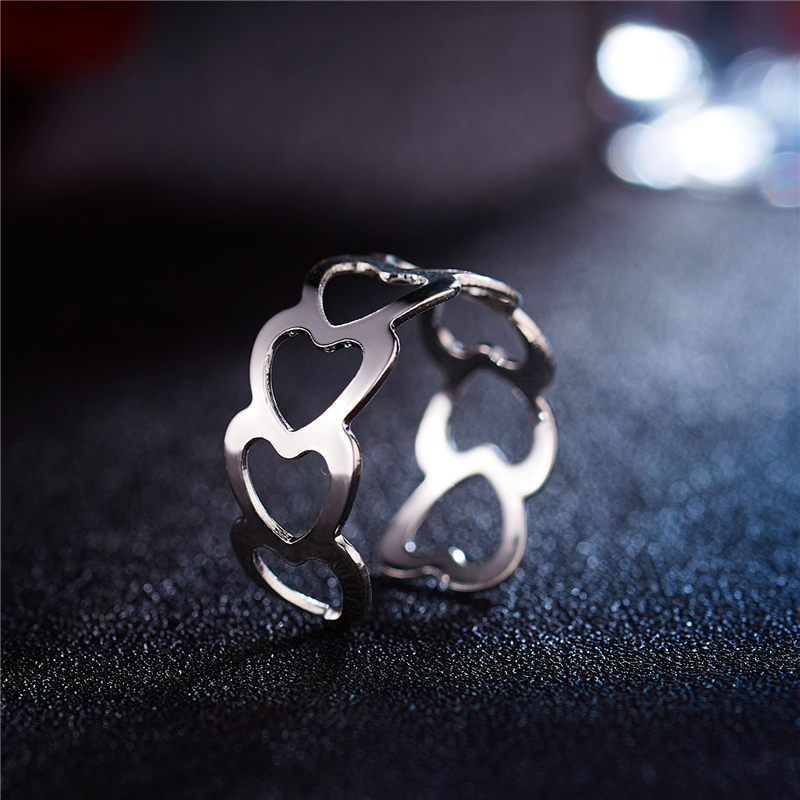19 New Fashion Silver Hollow Heart-Shaped Opening Ring For Women Punk Alloy Finger Rings Simple Boho Jewelry 6
