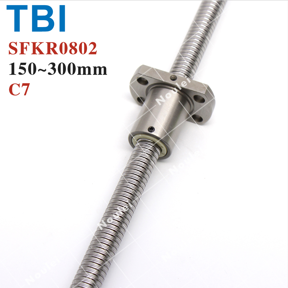TBI 0802 Miniature Ball Screw, 8mm dia 2mm lead Ballscrew with ballnut SFK0802 for CNC parts tbi ball screw 2005 c7 1000mm with 5mm lead without flange ballnut bsh2005 for cnc kit backlash